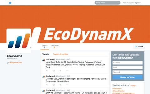 Screenshot of Twitter Page twitter.com - EcoDynamX (@EcoDynamX) | Twitter - captured Oct. 22, 2014