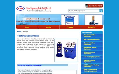 Screenshot of Products Page kartarengineeringworks.com - Testing Equipment - Electrical Bitumen Extractor, Cbr Test Apparatus, Doory Abrassion Testing Machine, Core Drilling Machine and Automatic Compactor - captured Oct. 6, 2014