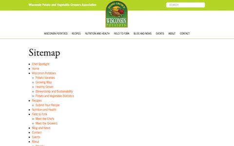 Screenshot of Site Map Page eatwisconsinpotatoes.com - Sitemap | Wisconsin Potatoes - captured March 1, 2016