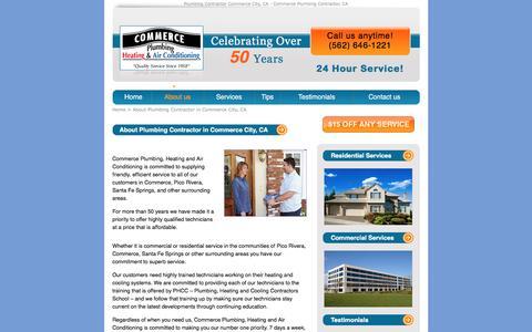Screenshot of About Page commerce-plumbing.com - Plumbing Contractor Commerce City, CA - captured Jan. 26, 2017
