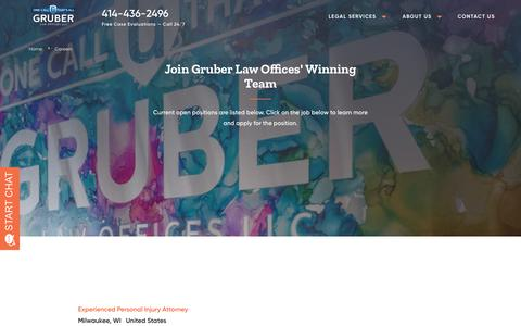 Screenshot of Jobs Page gruber-law.com - Career Opportunities | Gruber Law Offices, LLC - captured Sept. 30, 2018