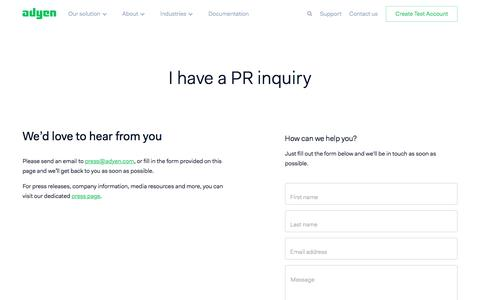 Screenshot of Press Page adyen.com - Make a PR enquiry - Adyen - captured Oct. 10, 2017