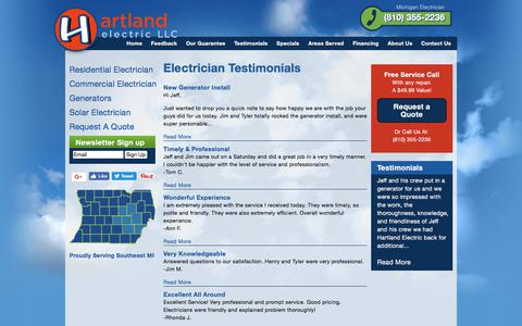 Screenshot of Testimonials Page hartlandelectric.com - Electrician Testimonials   Hartland Electric, a Michigan Electrician - captured July 19, 2017