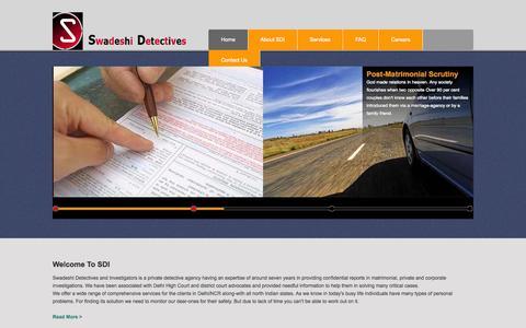 Screenshot of Home Page swadeshidetectives.com - Swadeshi Detectives & Investigatiors - captured Oct. 4, 2015