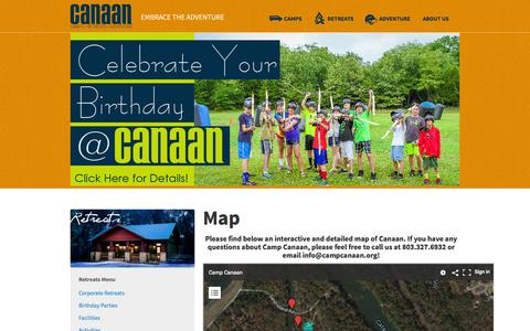 Screenshot of Maps & Directions Page campcanaan.org - Map - Camp Canaan - captured Oct. 28, 2014