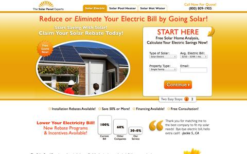 Screenshot of Home Page thesolarpanelexperts.com - The Solar Panel Experts - California's Top Solar Install Source - captured Sept. 30, 2014