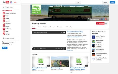 Screenshot of YouTube Page youtube.com - Roadtrip Nation  - YouTube - captured Nov. 4, 2014