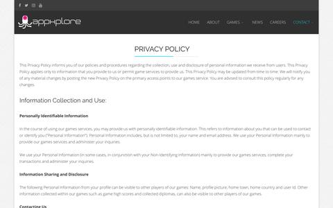 Screenshot of Privacy Page appxplore.com - Appxplore | Games Development Studio | Privacy Policy - captured May 31, 2017