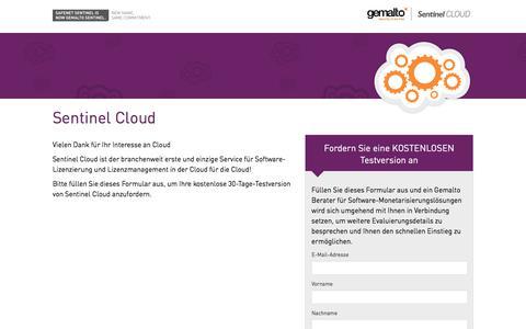 Screenshot of Landing Page gemalto.com - Sentinel Cloud - captured Nov. 29, 2017