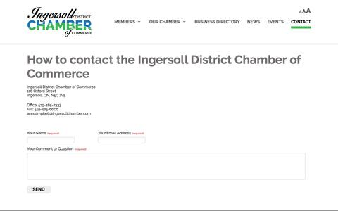 Screenshot of Contact Page ingersollchamber.com - Ingersoll Chamber of Commerce |   	Contact Ingersoll Chamber of Commerce, Ingersoll Chamber location, contact details IDCC - captured Nov. 26, 2016