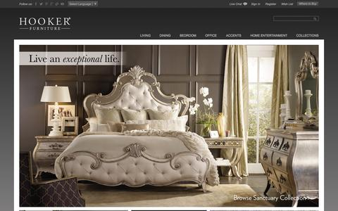 Screenshot of Home Page hookerfurniture.com - Living, Office & Bedroom Furniture | Hooker Furniture - captured Oct. 28, 2015