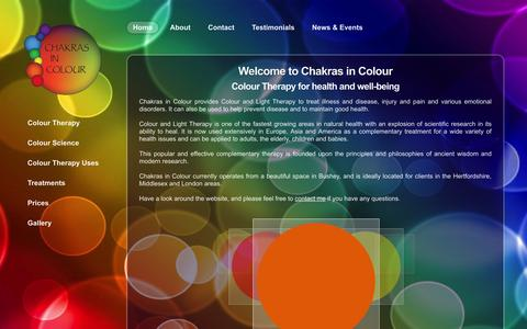 Screenshot of Home Page chakrasincolour.com - Chakras in Colour - captured Sept. 29, 2014