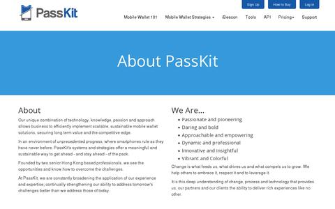 Screenshot of About Page passkit.com - About - PassKit - captured July 18, 2014