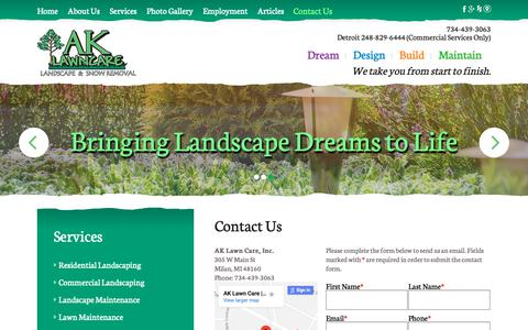 Screenshot of Contact Page ak-lawncare.com - Contact AK Lawn Care Inc | Milan, MI - captured Oct. 2, 2018