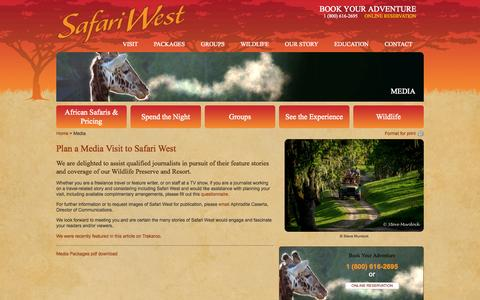 Screenshot of Press Page safariwest.com - Media | Safari WestSafari West - captured Sept. 19, 2014