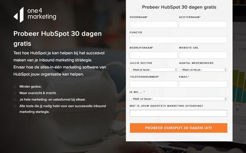 Screenshot of Trial Page one4marketing.nl - HubSpot Trial - Probeer HubSpot 30 dagen gratis uit - captured Jan. 16, 2017