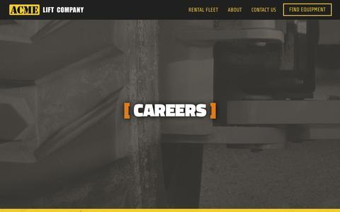 Screenshot of Jobs Page acmelift.com - Careers   Acme Lift Company Careers Based on Success - captured Nov. 20, 2016