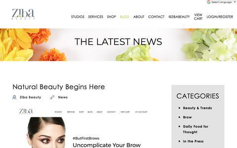 Screenshot of Blog zibabeauty.com - Ziba Beauty Eyebrow Threading Salons, Blog Page - captured Sept. 20, 2018