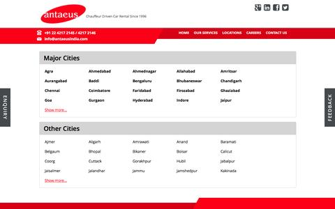 Screenshot of Locations Page antaeusindia.com - Antaeus Rent A Car - Locations - Book luxury car rental services anywhere in India with Antaeus Rent A Car - captured Feb. 6, 2016