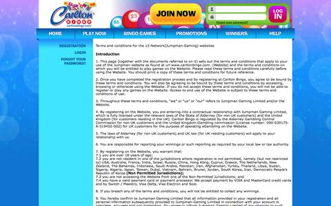 Screenshot of Terms Page carltonbingo.com - Terms & Conditions - captured July 15, 2017