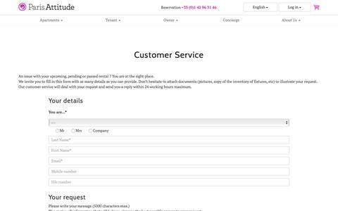 Screenshot of Support Page parisattitude.com - Customer Service - Infos.ParisAttitude.com - captured July 11, 2016