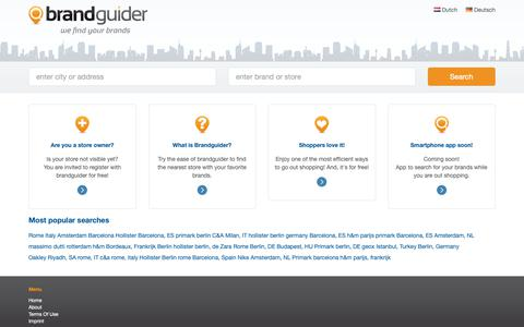 Screenshot of Home Page Privacy Page brandguider.com - Brandguider - Store Locations, Store Locator, Brand finder world wide   brandguider.com - captured Nov. 10, 2018