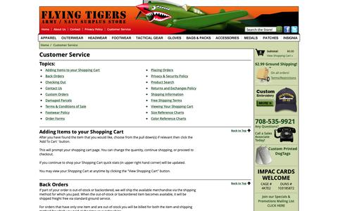 Screenshot of Support Page flyingtigerssurplus.com - Customer Service - - captured Oct. 10, 2018