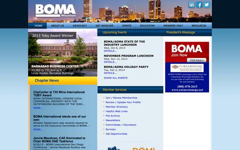 Screenshot of Home Page Privacy Page Contact Page Press Page Jobs Page Login Page boma-wi.org - Building Owners & Managers Association of Wisconsin - captured Oct. 4, 2014