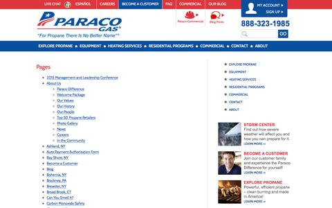 Screenshot of Site Map Page paracogas.com - Sitemap | Paraco Gas - captured July 14, 2017