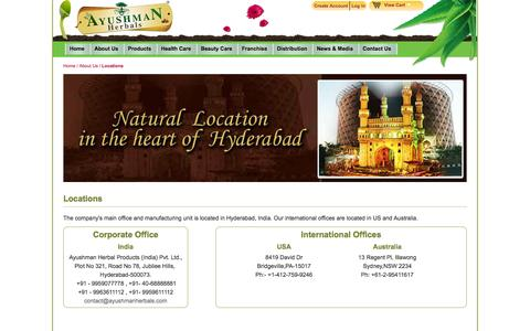 Screenshot of Locations Page ayushmanherbals.com - Locations - About Us - captured Sept. 30, 2014