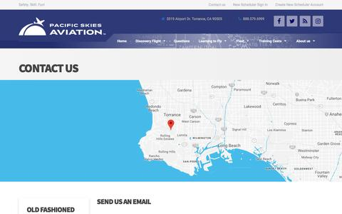 Screenshot of Contact Page pacificskies.com - Contact Us – Pacific Skies Aviation - captured Sept. 26, 2018