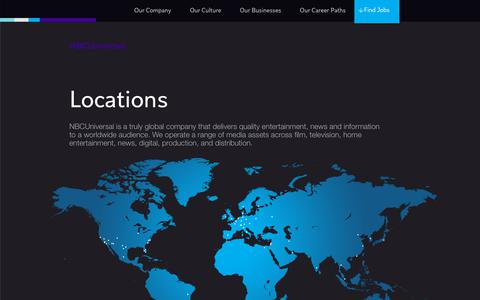 Screenshot of Locations Page nbcunicareers.com - Locations | NBCUniversal Careers - captured Nov. 8, 2018