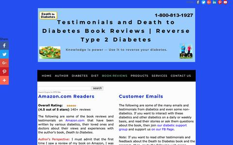 Screenshot of Testimonials Page deathtodiabetes.com - Testimonials | Death to Diabetes Book | Reverses T2 Diabetes - captured Oct. 8, 2018