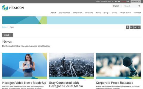 Screenshot of Press Page hexagon.com - News | Hexagon - captured Feb. 5, 2018