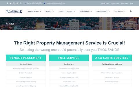 Screenshot of Pricing Page bwprentals.com - Pricing | Boardwalk Property Management - captured Oct. 10, 2017