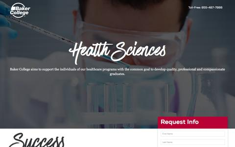 Screenshot of Landing Page baker.edu - Health Sciences – Discover Baker College - captured March 24, 2017