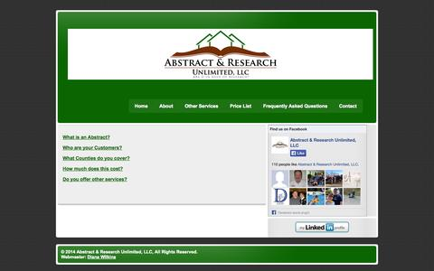 Screenshot of FAQ Page abstractresearchunlimited.com - Frequently Asked Questions | Abstract & Research Unlimited, LLC - captured Oct. 4, 2014