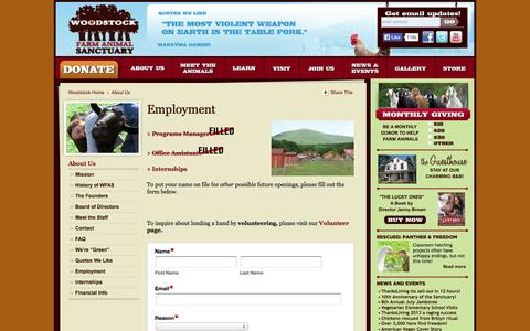 Screenshot of Jobs Page woodstocksanctuary.org - Employment «  Woodstock Farm Animal Sanctuary - captured Oct. 1, 2014