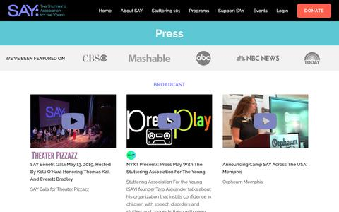 Screenshot of Press Page say.org - Press | SAY The Stuttering Association for the Young - captured Sept. 21, 2019