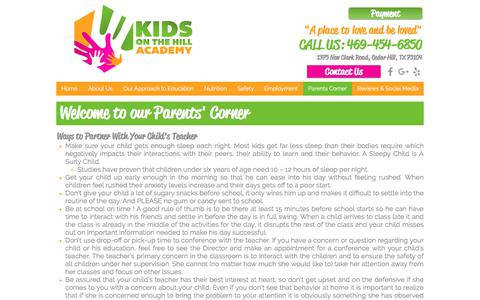 Screenshot of Contact Page kidsonthehillacademy.com - Kids On The Hill Academy | Parents Corner - captured July 8, 2018