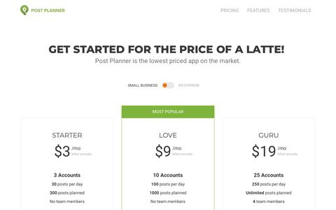 Screenshot of Pricing Page postplanner.com - Pricing, Plans and Signup: Low-cost Social Media Marketing App - captured April 18, 2019
