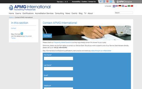 Screenshot of Contact Page apmg-international.com - Contact APMG-International | APMG-International - captured Sept. 30, 2014