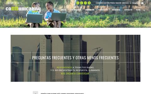 Screenshot of FAQ Page grupocomunicating.com - PREGUNTAS FRECUENTES - Grupo Comunicating - captured July 25, 2018