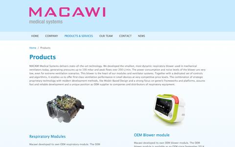 Screenshot of Products Page macawi.com - Products | www.macawi.com - captured Oct. 4, 2014
