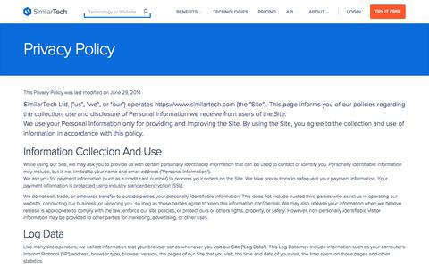 Screenshot of Privacy Page similartech.com - Privacy Policy - captured Jan. 8, 2016