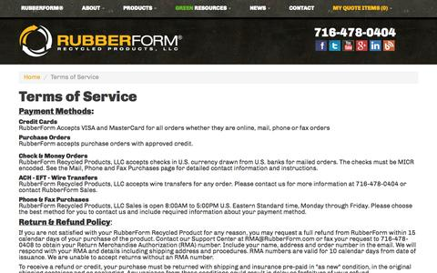 Screenshot of Terms Page rubberform.com - Terms of Service   RubberForm Recycled Products, LLC - captured Nov. 4, 2014