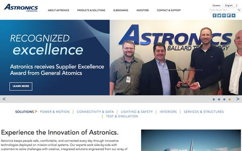 Screenshot of Home Page astronics.com - Astronics | Innovative Technology, Collaborative Solutions - captured June 12, 2018