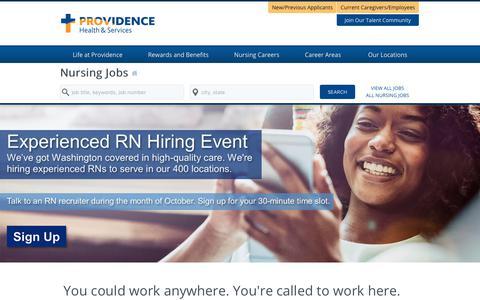 Screenshot of Home Page providence-nursing.jobs - Providence Nursing Jobs - captured Oct. 22, 2017