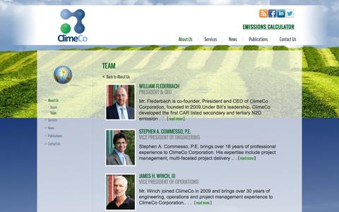 Screenshot of Team Page climeco.com - Team | ClimeCo - captured Oct. 2, 2014