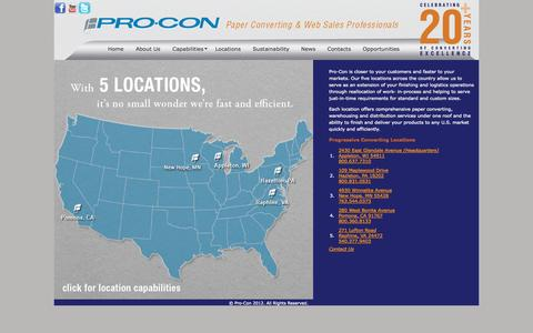 Screenshot of Locations Page pro-con.net - Locations - captured Oct. 3, 2014